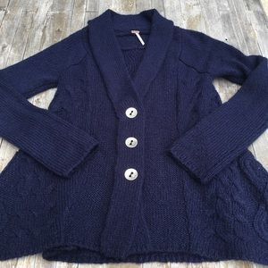 Free People Sweater Navy Blue Cable Knit Cardigan